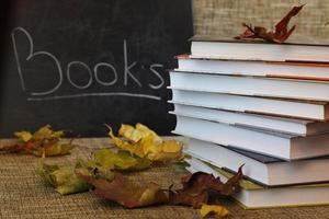 schoolboeken verlaten schooljaar foto