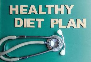 retro stijl woord gezonde voeding plan geschreven met alfabetten foto