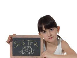 meisje en schoolbord