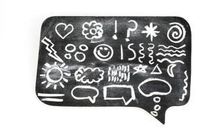 symbolen op schoolbord zeepbel foto