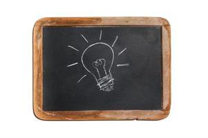 oude schoolbord met gloeilamp tekening foto