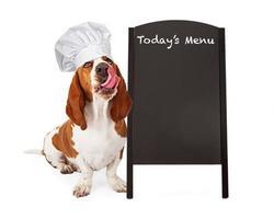 hond chef-kok met menu schoolbord foto