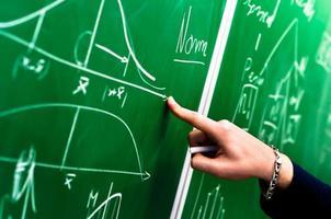hand van een student die op groen schoolbord richt foto