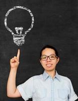 Aziatische vrouw wijzen idee lamp teken op bord foto