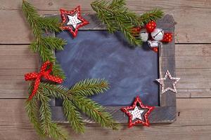 Kerstdecoratie met schoolbord foto