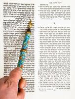 Bar mitswa jongen beoefenen van Torah lezing van dichtbij