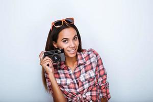 concept voor multi-etnische stijlvolle meisje foto