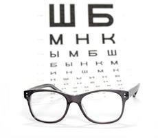 bril en testkaart voor het oog foto