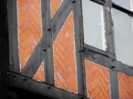 half houten vakwerk tudor glas in lood ramen chester cheshire foto