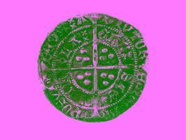 gehamerd zilvergrut van henry vi 143-1431 achteruit foto