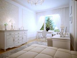 lichte interieur van tiener slaapkamer
