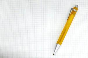 gele pen op ruitjespapier