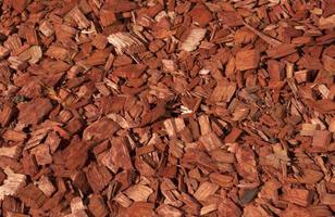 rode en oranje houtsnippers textuur. foto