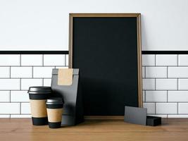 zwarte poster op tafel met lege elementen. 3D-weergave foto