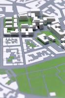 het plannen van een wijk, kaart, lopende project van een wijk. foto