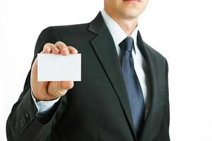 blanco visitekaartje in de hand foto
