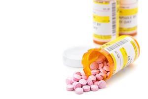 voorgeschreven medicijnen in oranje pilflessen foto