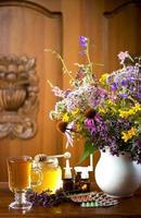 stilleven van geneeskrachtige kruiden, honing, kruidenthee en medicijnen