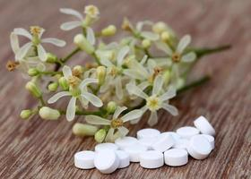 pillen gemaakt van medicinale neembloem foto