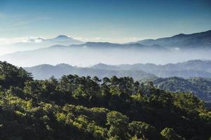 moning uitzicht op bergen en oerwouden foto