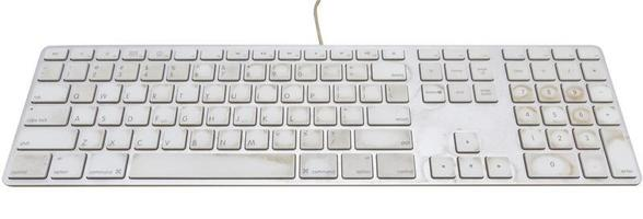close-up van een toetsenbord op een vuile. foto