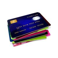 creditcards die over wit worden geïsoleerd foto