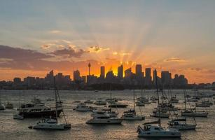 zonsondergang sydney city cbd foto