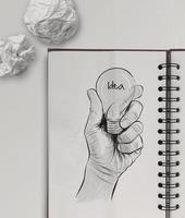 hand getekende gloeilamp met idee woord foto