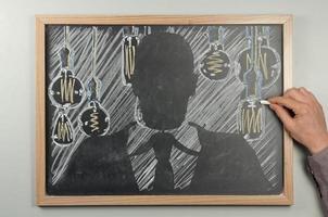 gloeilamp schoolbord foto