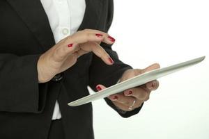 digitale tablet en zakenvrouw foto
