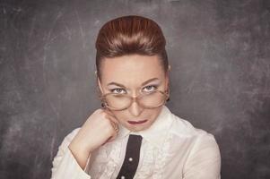 leraar met droevige uitdrukking foto
