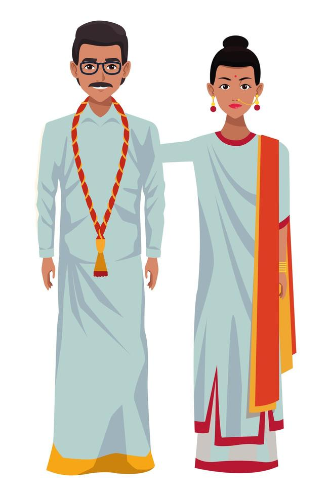 Indiase paar avatar stripfiguur vector