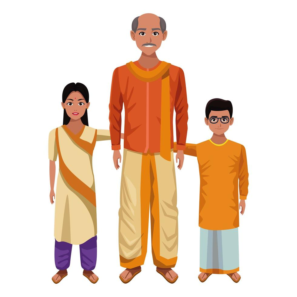 Indiase familie tekenset vector