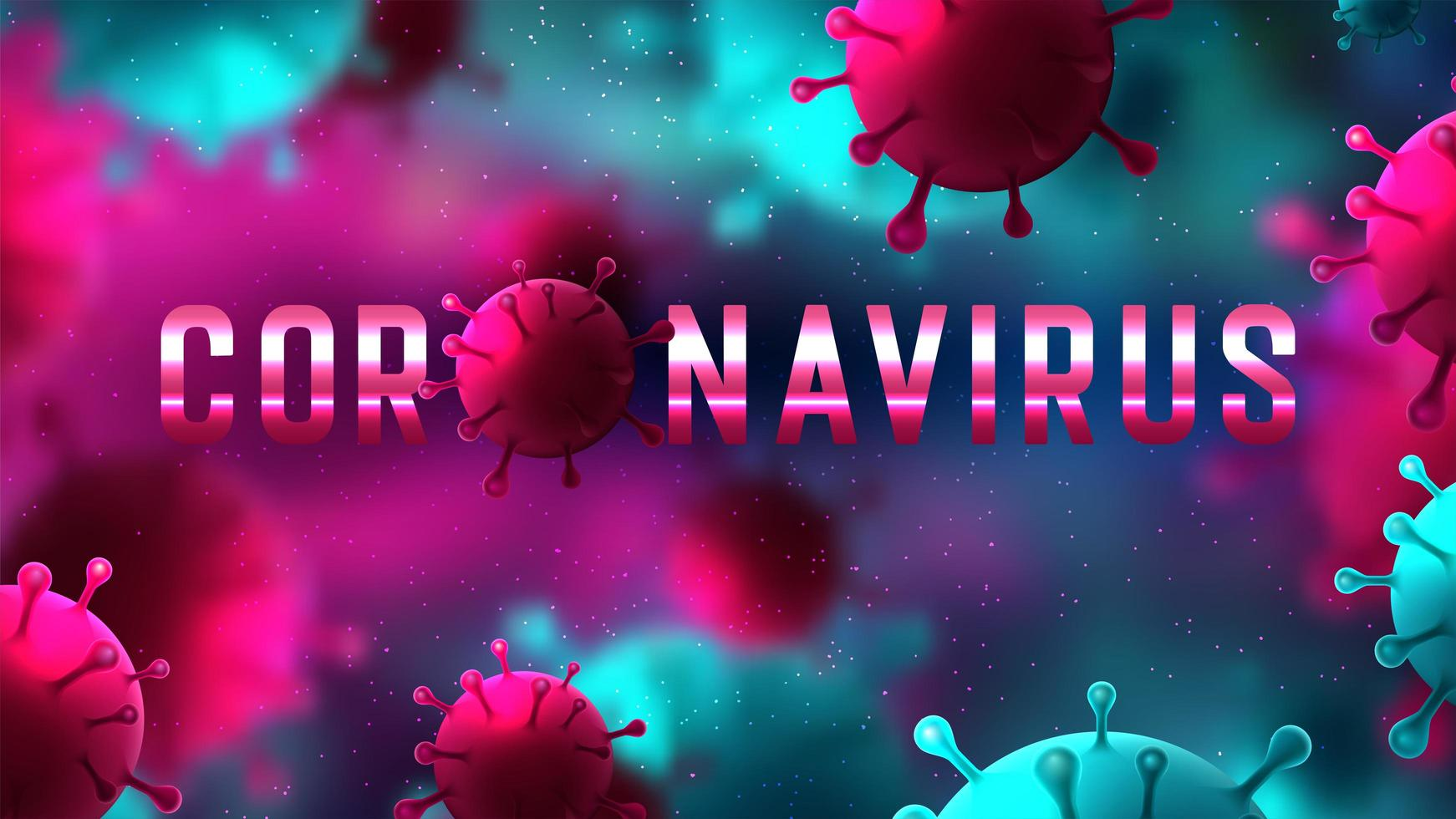 roze en blauwe covid-19 microscopische achtergrond vector