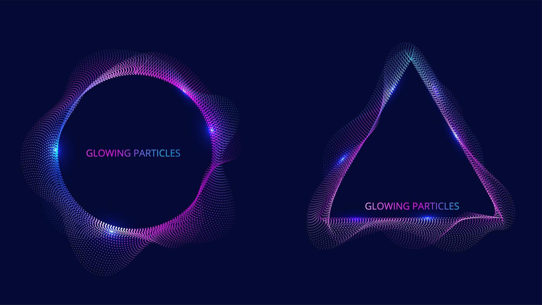 blauwe en paarse cirkel en driehoek deeltje vector