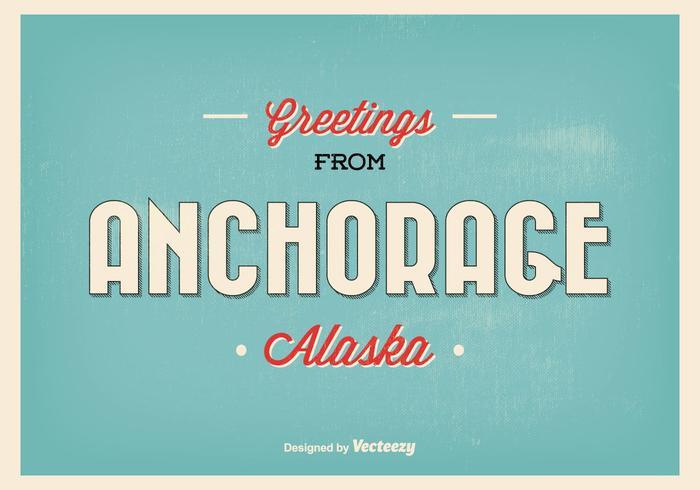 Anker Alaska Vintage Illustratie van de Groet vector