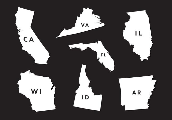 Vector Set van State Map Silhouettes