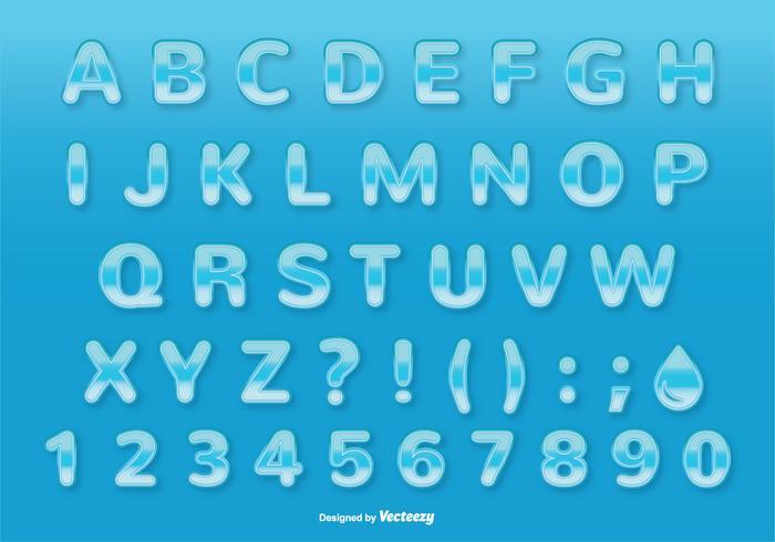 Waterstijl Lettertype / Alfabet Set vector