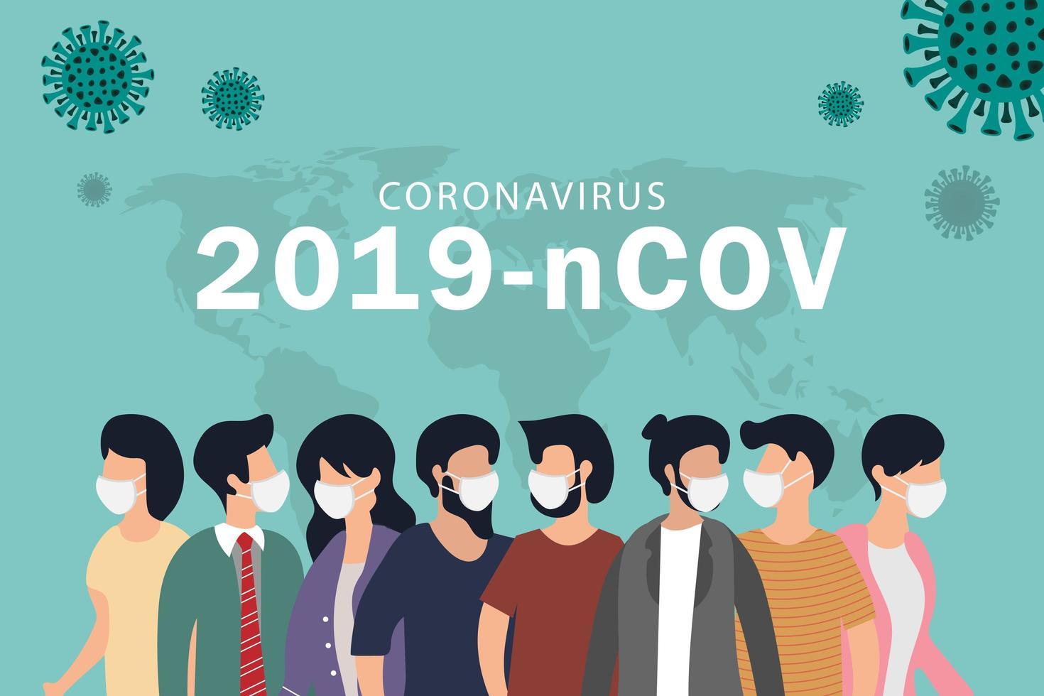 coronavirus quarantainekaart met mensen in maskers vector