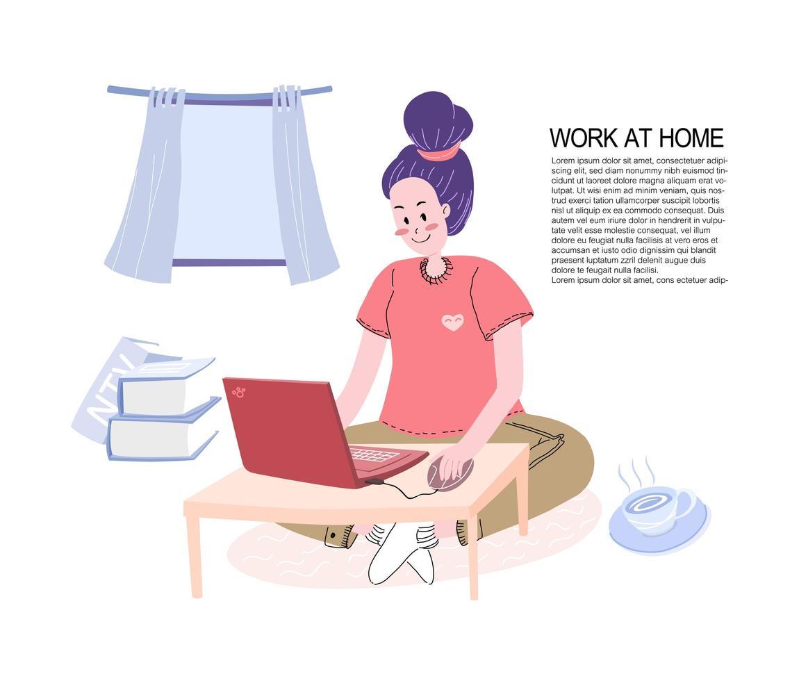 jonge vrouw die op laptop thuis werkt vector