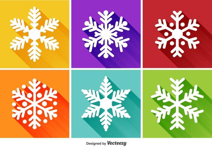 Sneeuwvlokken Platte Pictogrammen vector