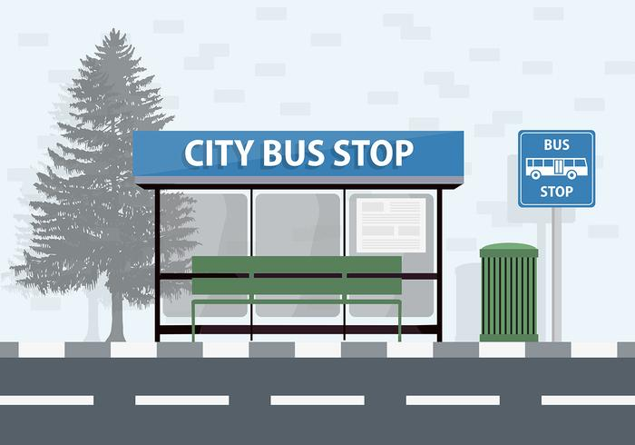 Gratis City Bus Stop Vector Achtergrond