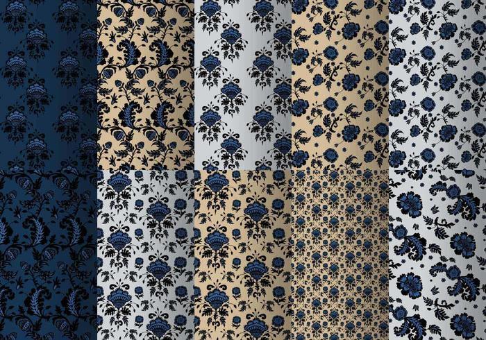 Blauw Barok Patroon Pakket vector