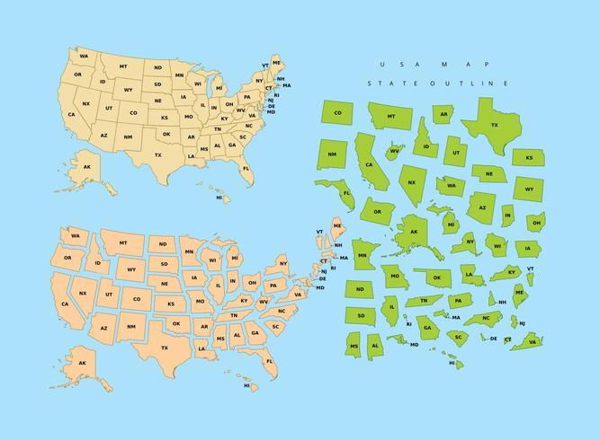 Staatsoverzicht USA vector