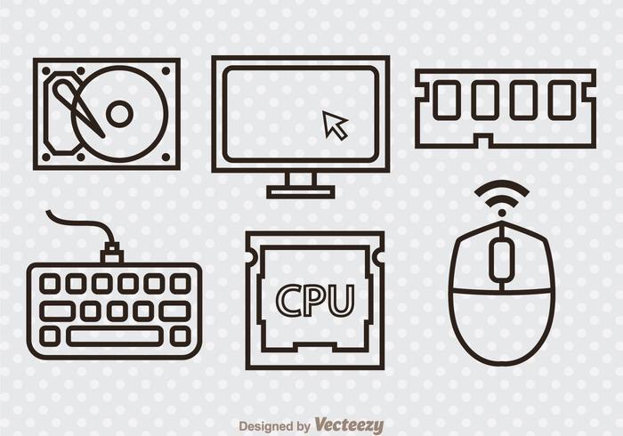Computer Hardware Outline Pictogrammen vector