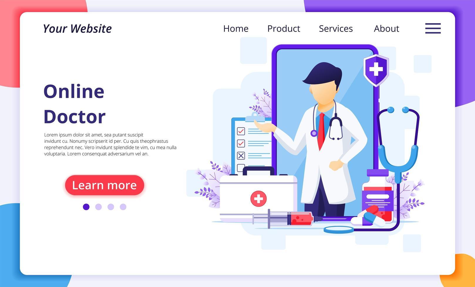 online mannelijke arts en de bestemmingspagina van medische elementen vector