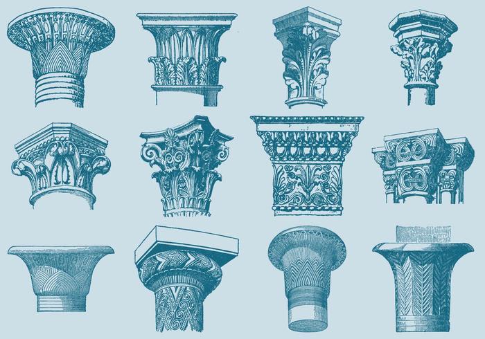 Oude Stijl Tekening Kolom Capitals vector