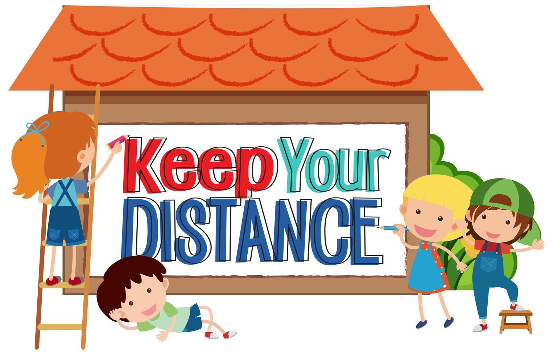 houd uw afstandsbord met kinderen vector