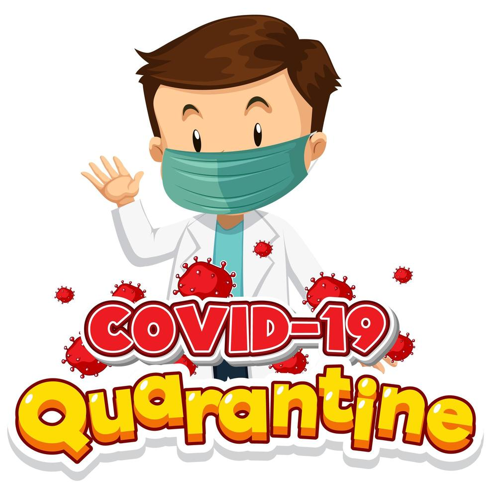 covid-19 quarantaineposter met arts die masker draagt vector
