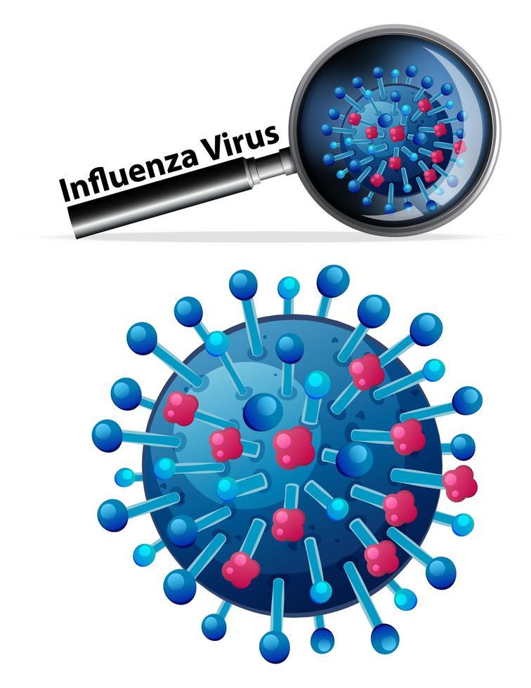 close-up van het griepvirus vector